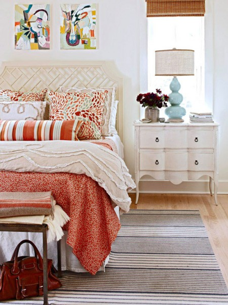 red and orange patterned bedroom, BHG