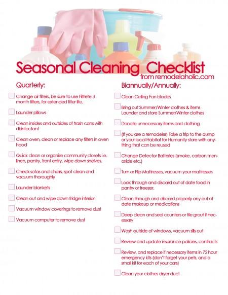 Seasonal Cleaning Checklist