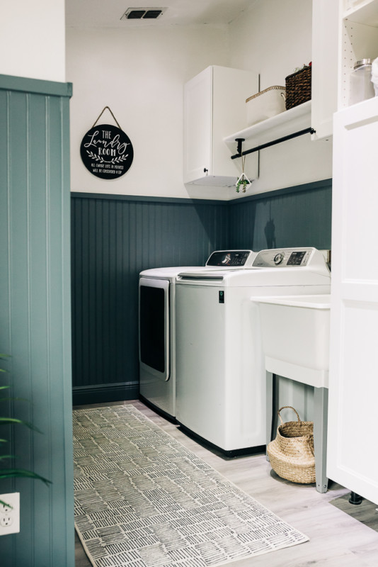 Small Laundry Room Ideas, Painted Beadboard By Crazy Life With Littles On Remodelaholic