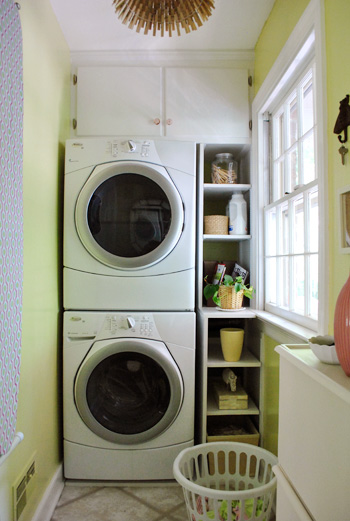 small laundry room with stacked washer and dryer, Young House Love