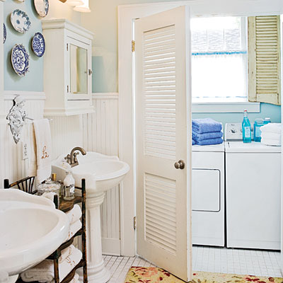 tiny laundry room in bathroom, Southern Living