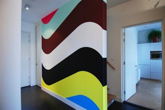 wavy painted stripes on wall - Wall Painted Designs