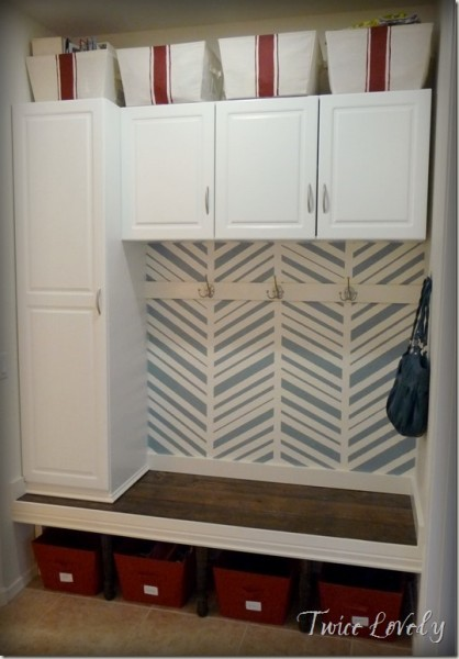 8-9 mudroom built-ins with herringbone pattern, Twice Lovely