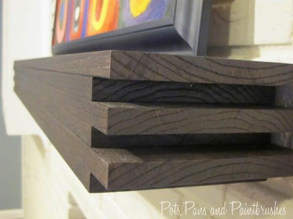 DIY modern floating mantel shelf
