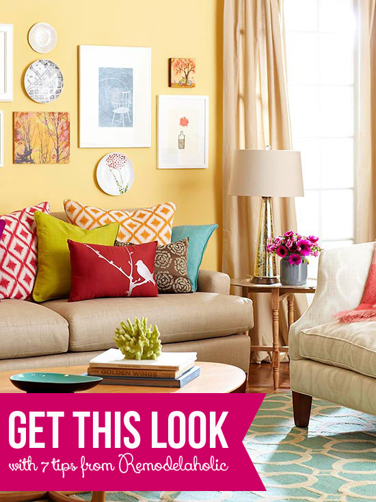 Bright Colors For Living Room Plans get this look: color me casual living room