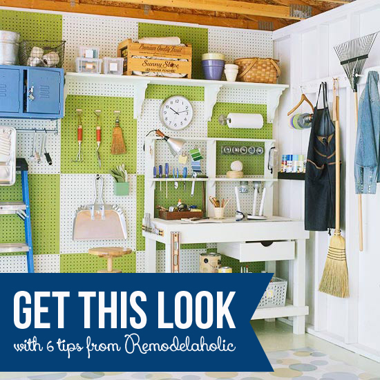 Get This Look   Simple Garage Organizing   Tips to Organize Your Garage  from Remodelaholic. Get This Look  Simple Garage Organizing Tips and Ideas