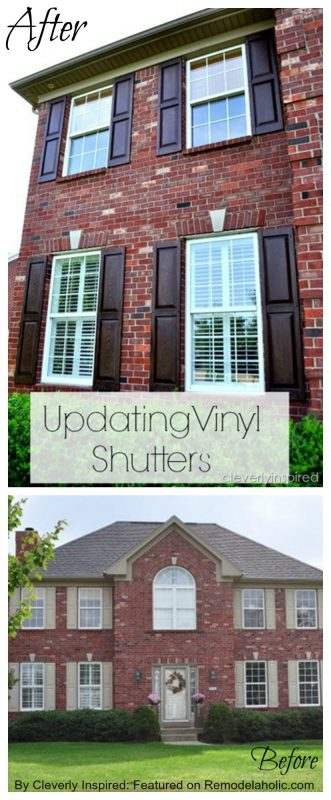 Remodelaholic Staining Vinyl Shutters A New Color