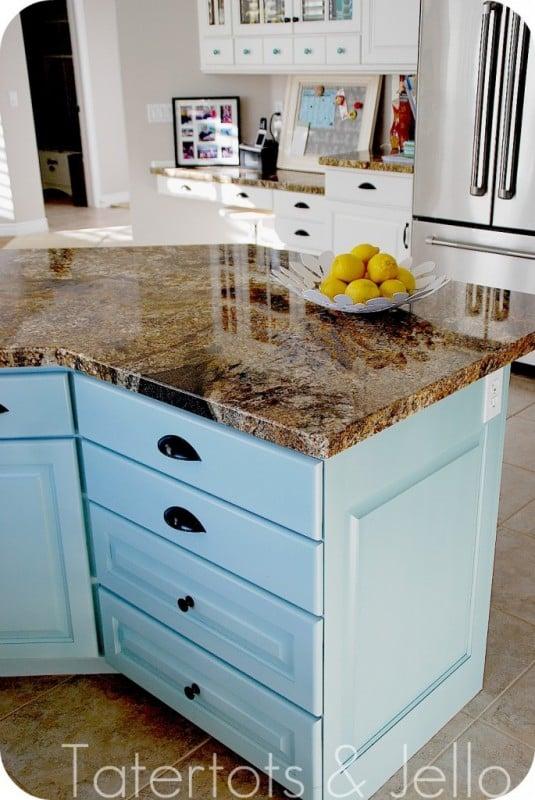 Tatertots and Jello, aqua and white kitchen remodel