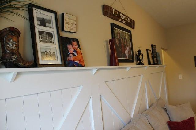 barn door wainscoting with chair rail ledge