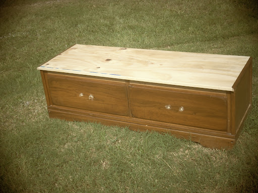 base of the mudroom bench made from dresser