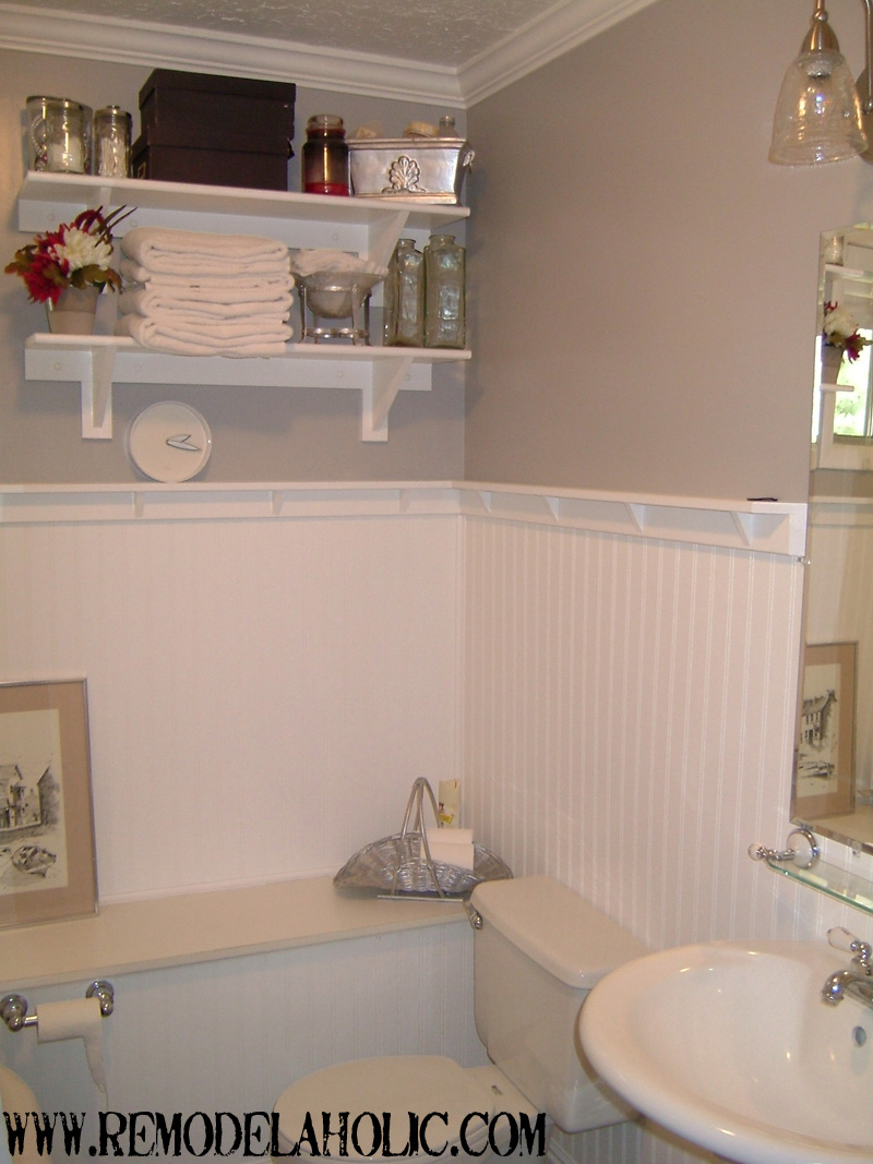 beadboard wainscoting with ledge remodelaholic - Bathroom Designs Using Beadboard