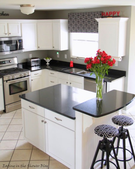 best kitchen remodel ideas -- black and white kitchen makeover adding kitchen island, Eating in the Shower on Remodelaholic