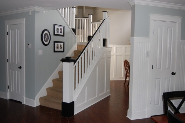 carpeted stairs before the painted stair remodel, Classic Style Home on Remodelaholic