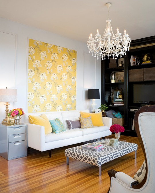Best colorful casual living room with yellow patterned accent wall Design Sponge