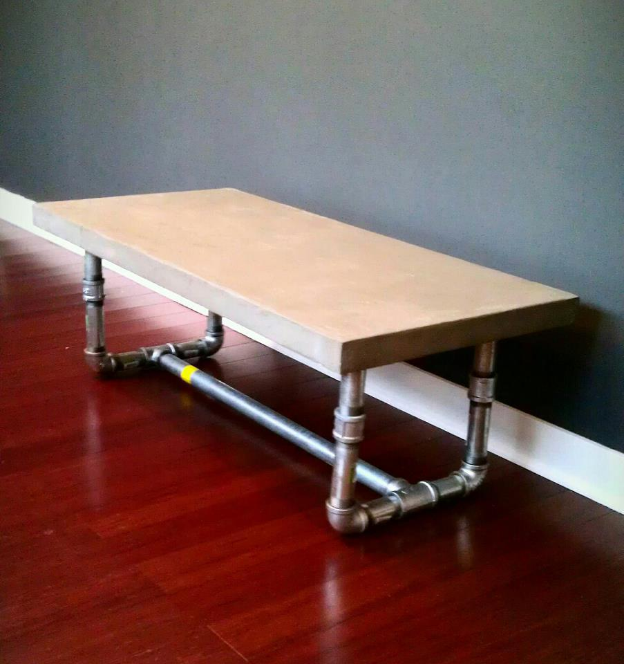Amazing concrete coffee table with pipe legs DIY My Homes