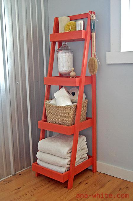 diy ladder shelf freestanding storage tower, Ana White