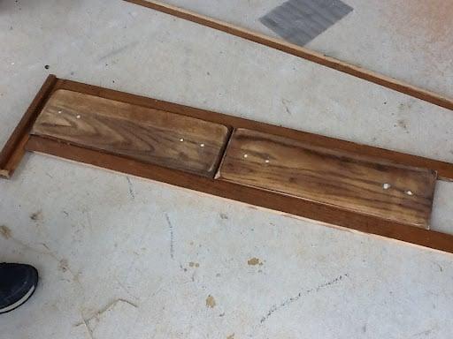 dresser drawer fronts reused on mudroom bench