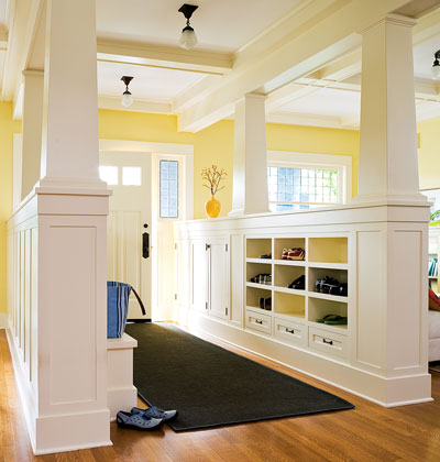 entry mudroom using columns and cubbies