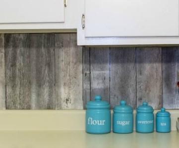 feature fence board reclaimed wood kitchen backsplash