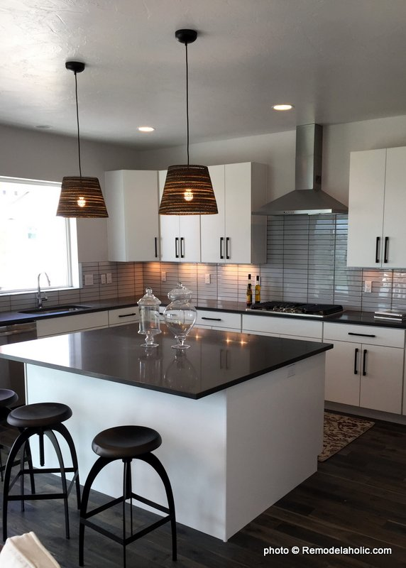 Grey Backsplash Tile And Counters And White Kitchen Cabinetry And Design Ideas, UVPH 2016 Home 35 Emerald Homes