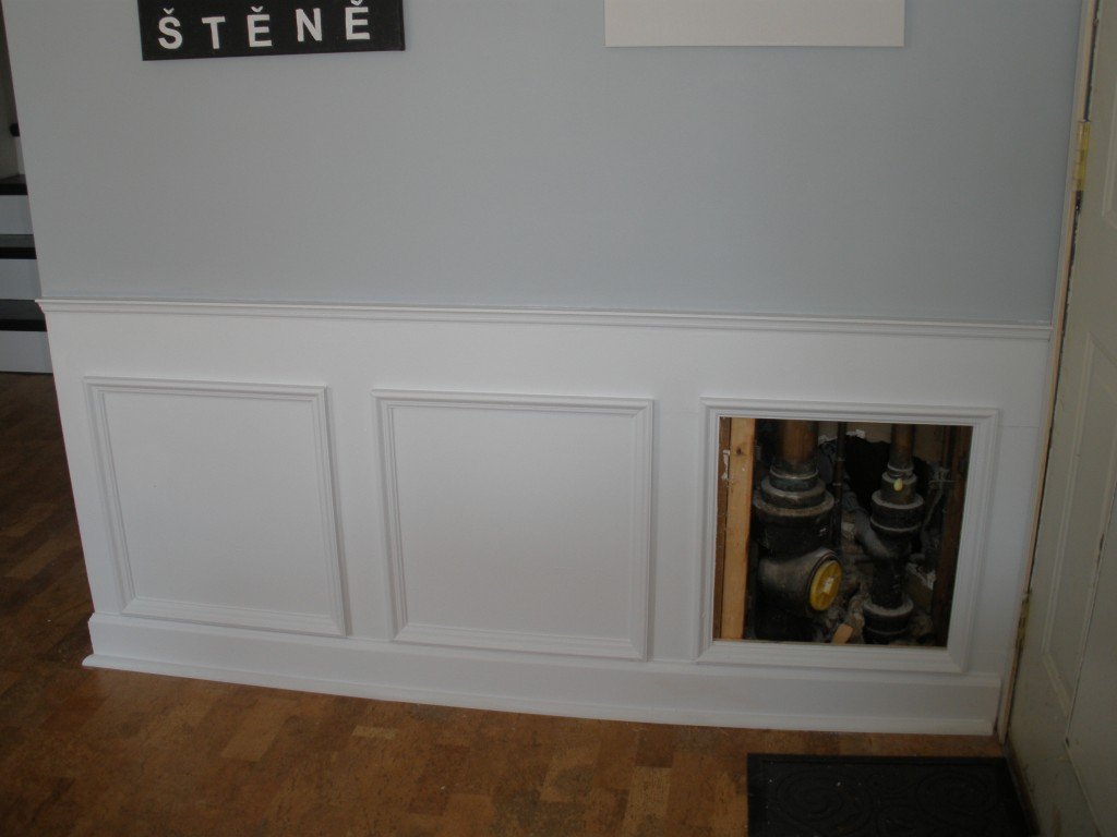 Hide Plumbing Access With Wainscoting The Modern Parsonage On Remodelaholic
