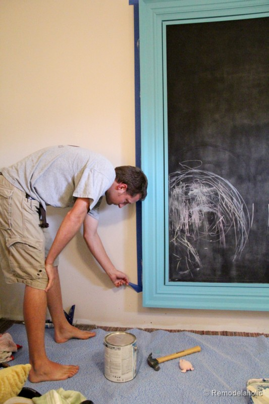 how to build a large chunky frame for a chalkboard-48