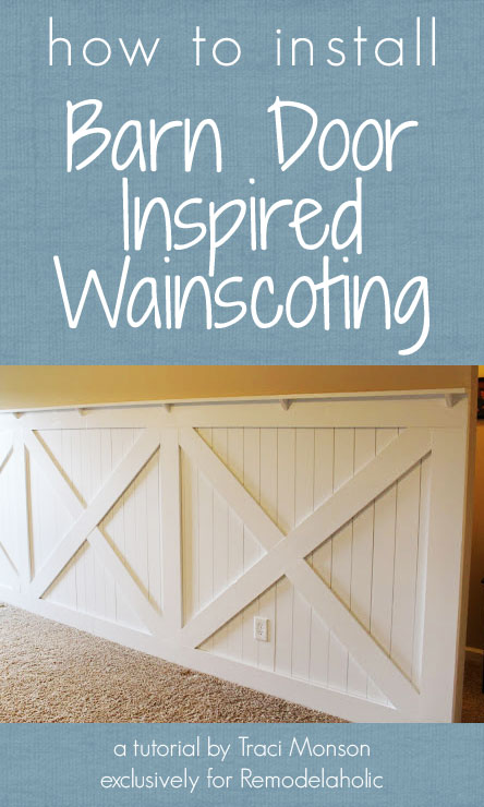 barn door wainscoting tutorial remodelaholic. Black Bedroom Furniture Sets. Home Design Ideas