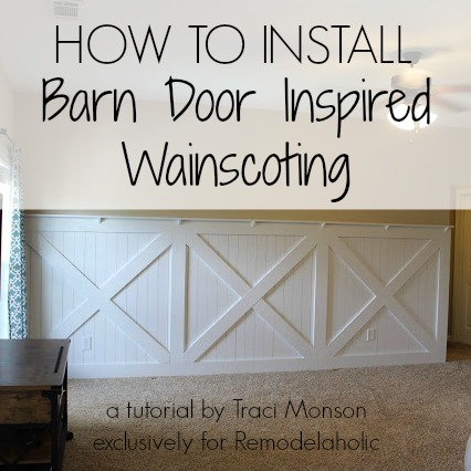 How to Install Barn Door Style Wainscoting | Remodelaholic.com #barndoor #wainscoting #walltreatment @Remodelaholic