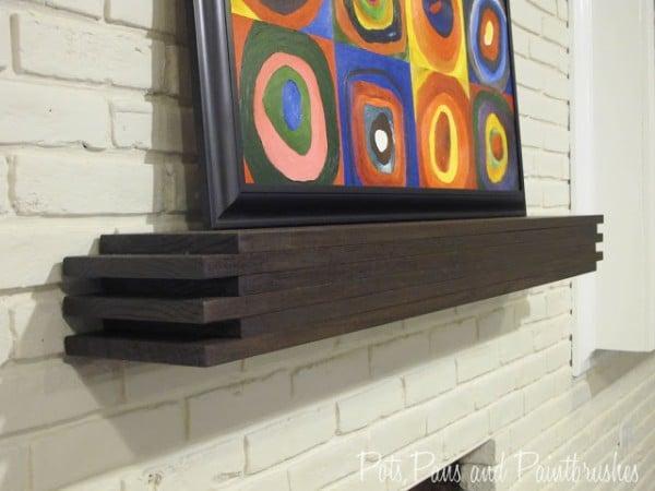 modern floating mantel shelf DIY