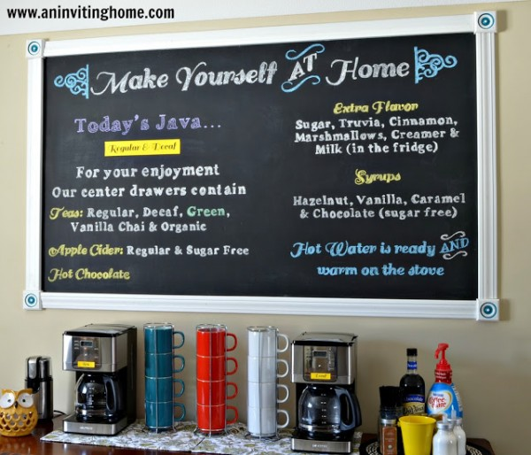 organized self-serve home coffee bar