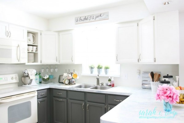 Painted White And Grey Kitchen Renovation On A Budget, All Things With Purpose Featured On Remodelaholic