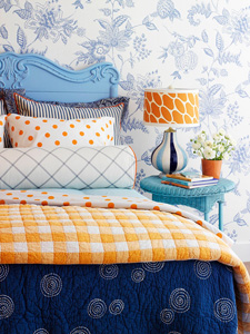 pattern mixing in kids rooms via Remodelaholic.com