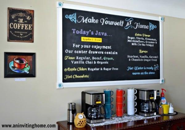self-serve coffee bar with chalkboard menu