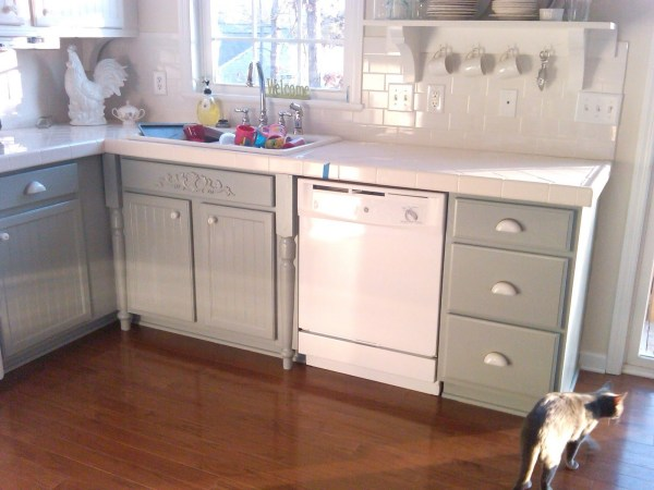 Silver Mink Light Gray Painted Cabinetry In A Grey And White Kitchen Makeover, Mom And Her Drill Featured On Remodelaholic