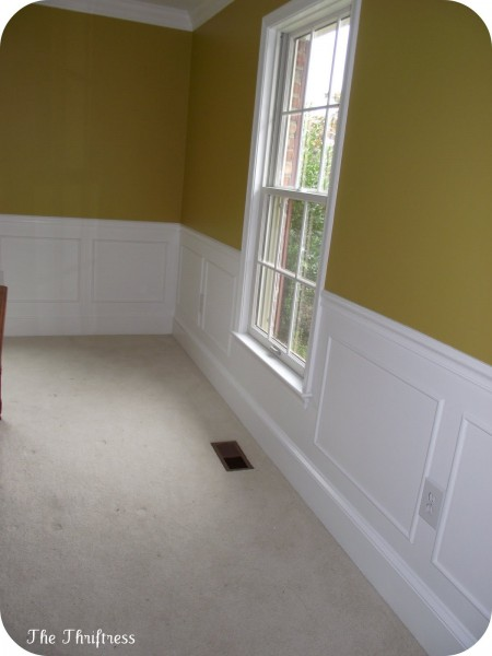 simple picture frame wainscoting, The Thriftress on Remodelaholic