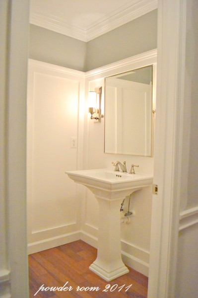 tall powder room wainscoting, Sixteen Fourteen on Remodelaholic