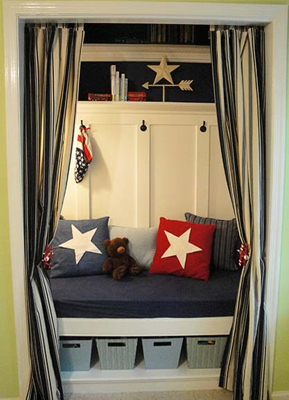 tall wainscoting in closet reading nook, Pretty Handy Girl on Remodelaholic