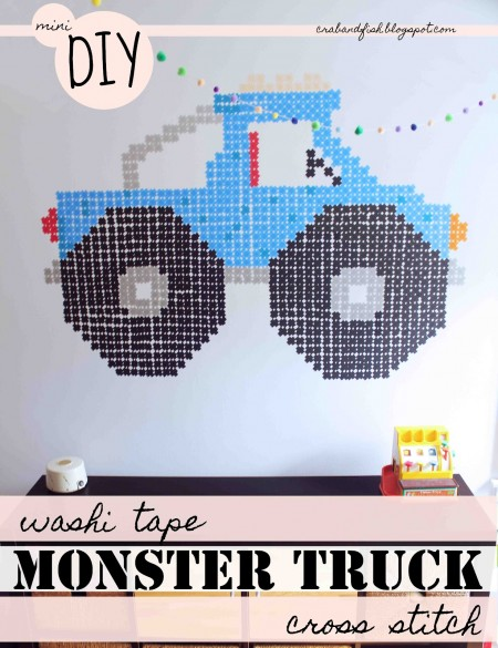 washi tape monster truck wall mural, Crab and Fish