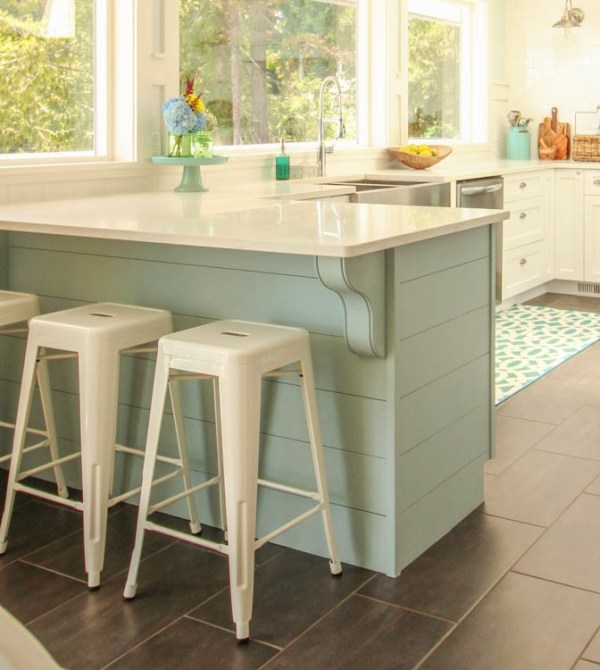 Wedgewood Grey Kitchen Island Peninsula With White Cabinetry, The Happy Housie Featured On Remodelaholic