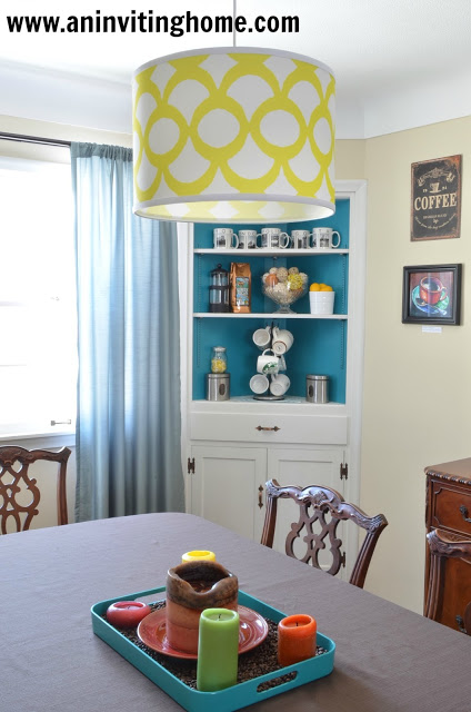 yellow and turquoise home coffee bar