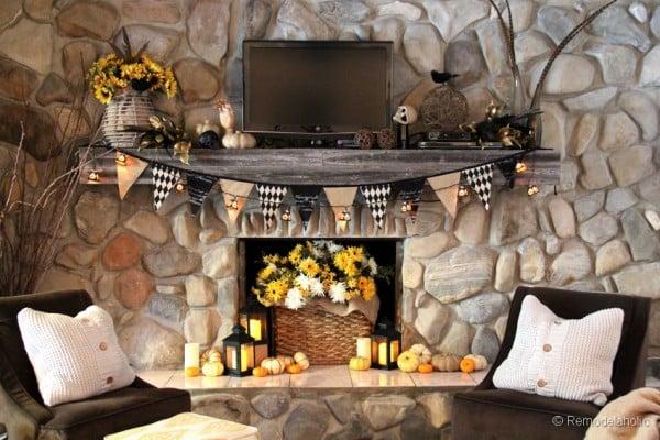 fall mantel and halloween mantel decor ideas 2