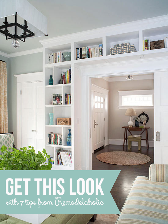 Make A Living Room A Library: Get This Look: Living Room Built-In Shelves