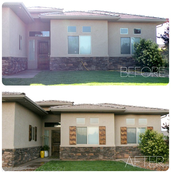 exterior shutters - chevron herringbone wood shutters, Vintage Revivals