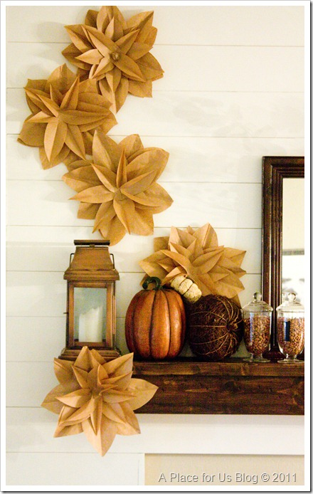 fall mantel with brown paper wall flowers, A Place For Us