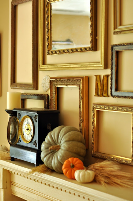 fall mantel with empty frame gallery, Everyday Lovely