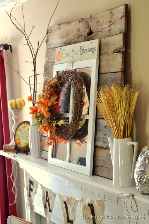 fall mantel with weathered wood, The Frugal Homemaker