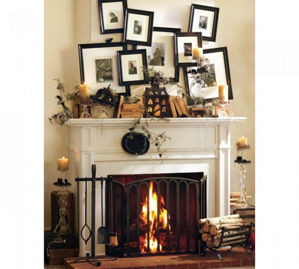 halloween mantel, pottery barn via lil luna