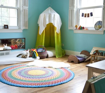 kids reading nook in a canopy in the corner, Sew Liberated via Tipsaholic