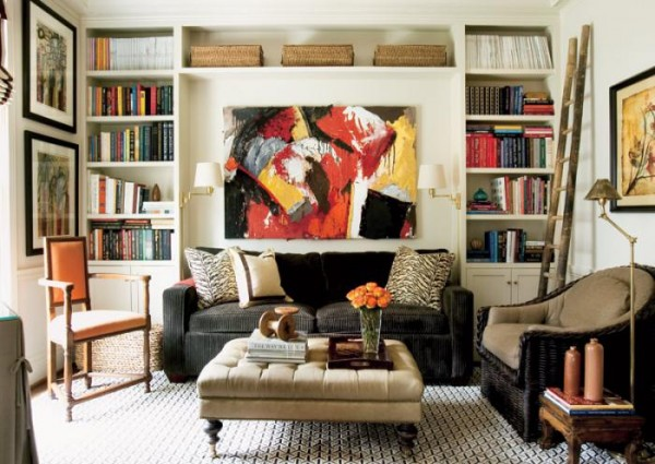 living room built-in shelves, designer Courtney Giles featured in Atlanta Homes Magazine