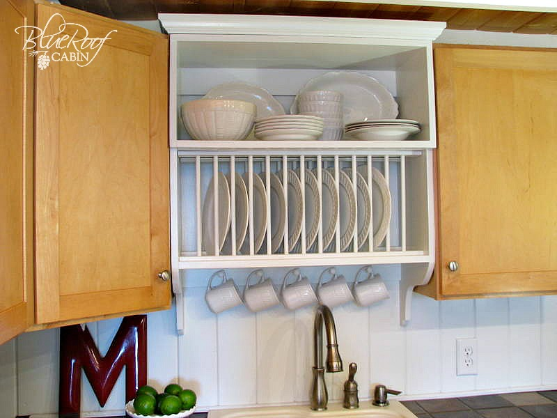 Mix Builder Grade And Custom Cabinets With A Plate Rack Shelf Cabinet